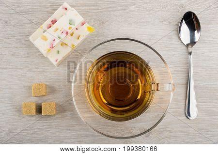 Pieces Of Pastila With Marmalade, Sugar, Teaspoon And Tea