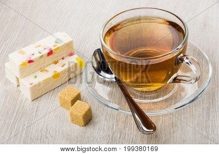 Pieces Of Pastila With Marmalade, Lumpy Sugar, Teaspoon And Tea