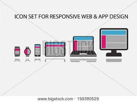 Vector icon set for responsive app development and web development on mobile devices