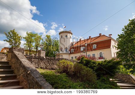 Cesis New Castle and old stairs in park. Latvian national sightseeng.