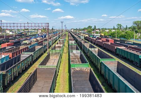 City junction railway yard on which sorting of freight railway trains takes place