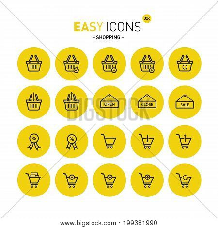 Vector thin line flat design icons set for shop theme
