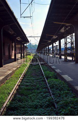 Prague Czech Republic-6 August 2017: Train tracks at Masaryk Railway Station in Prague
