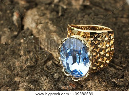 Jewelry ring with gemstone on bark of tree
