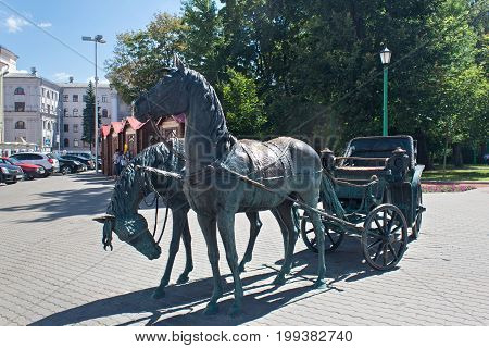 MINSK, BELARUS - AUGUST 01, 2013: City bronze sculpture