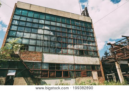 Abandoned factory in Efremov, Tula region, Russia, Big abandoned industrial building