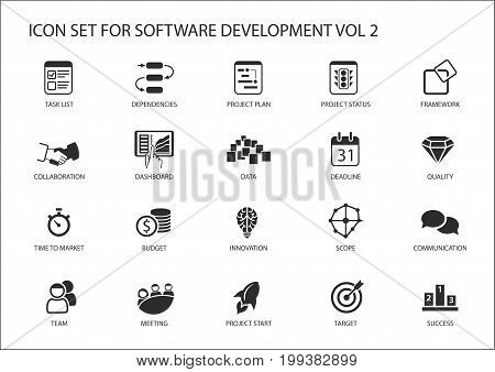 Software development icon set. Vector symbols to be used for Software development and information technology