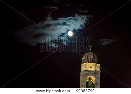 Belltower at night in the city of Dubrovnik