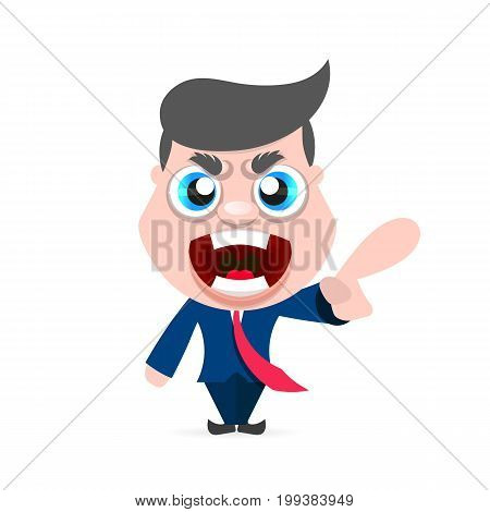 Boss man character screams on worker. Vector cartoon illustration