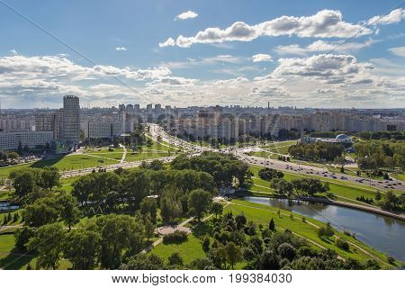 Aerial view of the western part of the Minsk with new multi-other buildings. Minsk is the capital and largest city of Belarus.