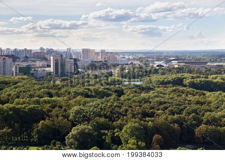 Aerial view of the western part of the Minsk with new multi-storey high buildings. Minsk is the capital and largest city of Belarus.