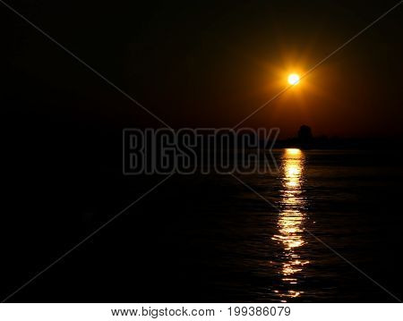 Yellow Sun At The Sunset With Reflections On The Venetian Lagoon