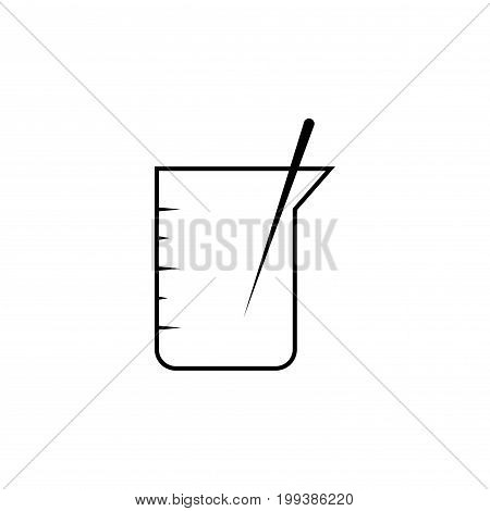 beaker with stick laboratory medical vector icon