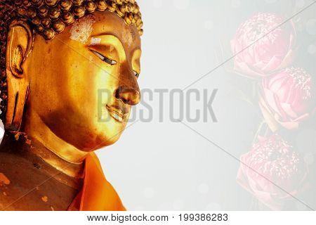 Face image of buddha Wat Pho Bangkok Thailand.