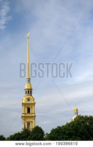 Peter and Paul fortress in Saint-Petersburg: located on hare island - historic core. The fortress was founded in 1703 by joint plan of Peter I and the French engineer Lambert. Tourist city in Russia.