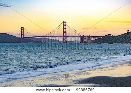 San Francisco Golden Gate Bridge Sunset Beach