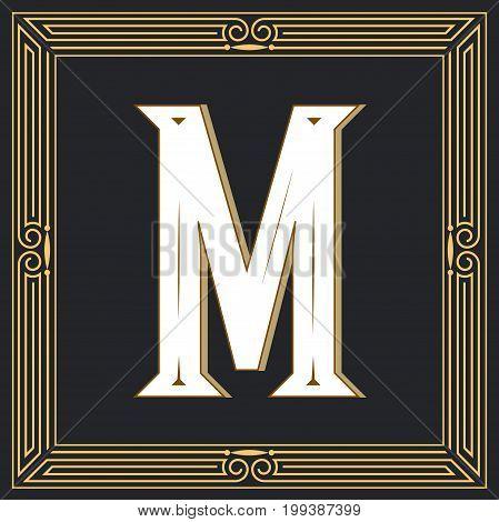 Retro style, western letter design. Letter M