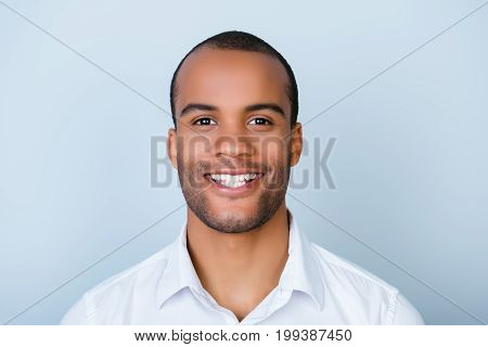 Successful Excited Young Mulatto African Man Banker With Bristle In Formal Wear Is Standing Isolated