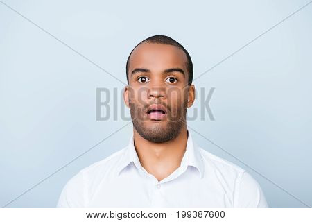 No Way! Close Up Portrait Of Astonished Young Freelancer Mulatto Guy, He Stands In White Smart Shirt