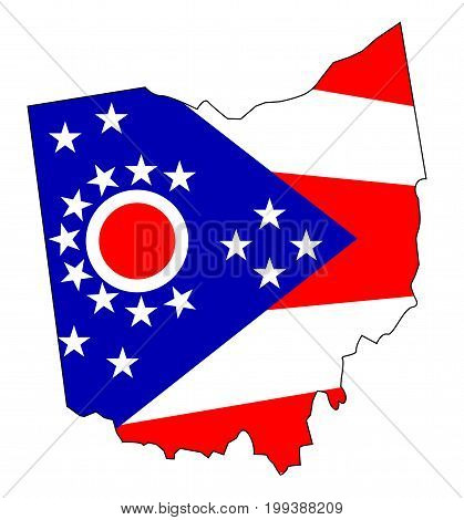 Outline map of the state of Ohio with flag inset
