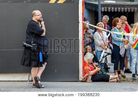Stockholm, Sweden - August 05, 2017: Pride 2017 In Stockholm. The Inhabitants Of The City Are Waitin