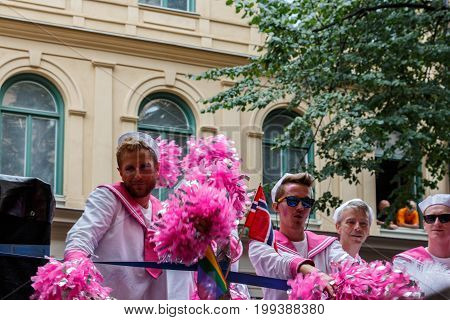 Stockholm, Sweden - August 05, 2017: Pride Participants And Spectators In The Streets Of Stockholm