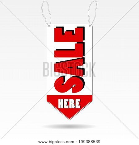 Special offer sale red tag isolated vector illustration. Discount offer price label, symbol for advertising campaign in retail, sale promo marketing, discount sticker, ad offer on shopping day