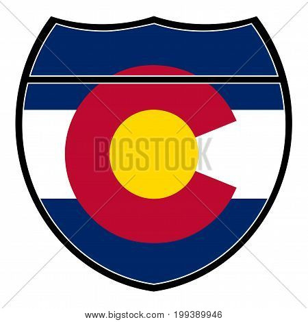 Colorado flag in an interstate sign over a white background