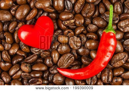 Coffee and chili peppers. Sale of coffee and spices. Trade in agricultural commodities