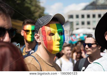 Masked Man Participating In Prague Pride - A Big Gay & Lesbian Pride