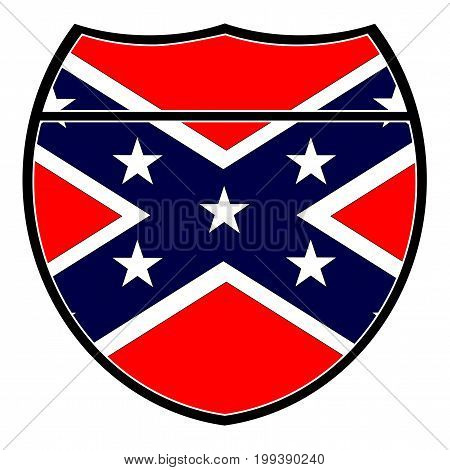Confederate flag in an interstate sign over a white background