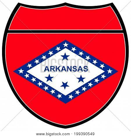 Arkansas state flag in an interstate sign over a white background
