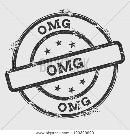 Omg Rubber Stamp Isolated On White Background. Grunge Round Seal With Text, Ink Texture And Splatter