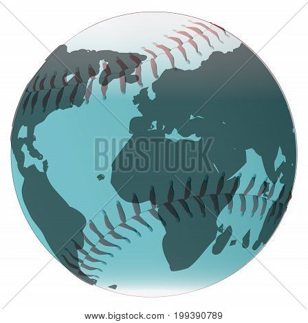 A new white baseball with red stitching with a world globe on a white background.