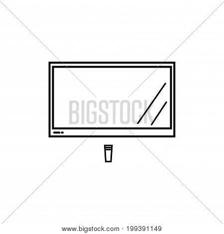 big lcd tv with remote control vector icon