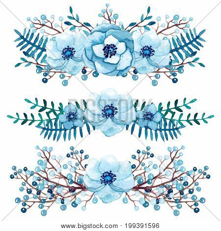 Winter Collection with Watercolor Little Light Blue Bouquets