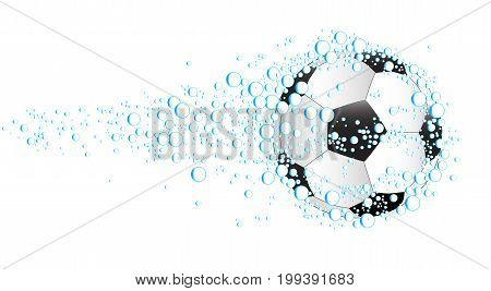 Blobs of water and a soccer ball set against a white background