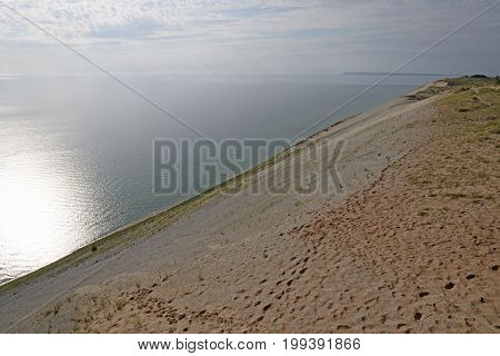 Sun and Shade on the Sand Dune on a Lakeshore in Sleeping Bear Dunes National Lakeshore in Michigan