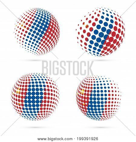 Mongolia Halftone Flag Set Patriotic Vector Design. 3D Halftone Sphere In Mongolia National Flag Col