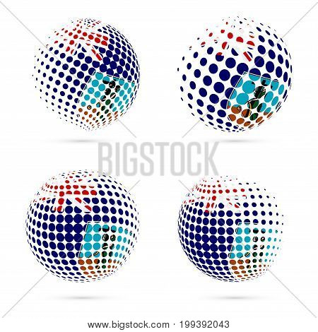 Montserrat Halftone Flag Set Patriotic Vector Design. 3D Halftone Sphere In Montserrat National Flag
