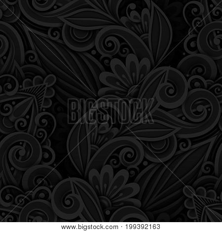 Vector Dark Seamless Pattern With Floral Ornament