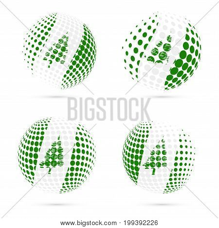 Norfolk Island Halftone Flag Set Patriotic Vector Design. 3D Halftone Sphere In Norfolk Island Natio