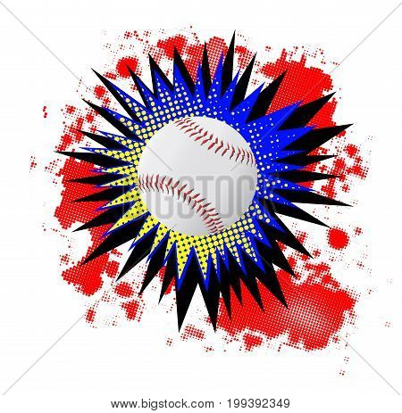 A comic cartoon style boom explosion with baseball over a white background
