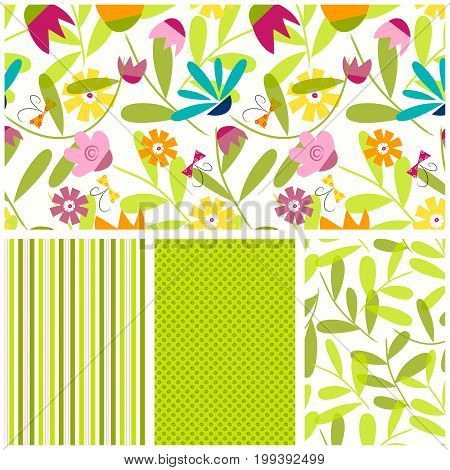 Seamless floral pattern with coordinating stripe, circle and stem pattern.