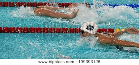 Hong Kong China - Oct 30 2016. Competitive swimmer Katinka HOSSZU (HUN) swimming in the Women's Butterfly 50m Preliminary Heat. FINA Swimming World Cup Victoria Park Swimming Pool.