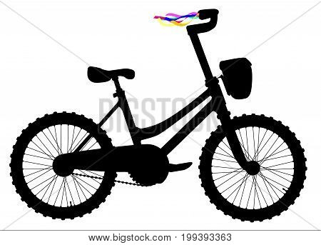 Silhouette of a childs bicycle with colored ribbons on the handle bars over a white background