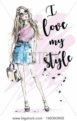 Beautiful young girl with slogan about style. Hand drawn fashion woman. Sketch. Vector illustration.