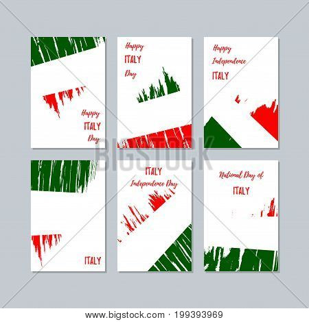 Italy Patriotic Cards For National Day. Expressive Brush Stroke In National Flag Colors On White Car