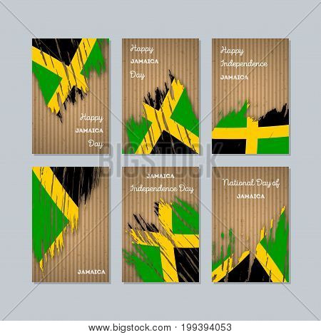 Jamaica Patriotic Cards For National Day. Expressive Brush Stroke In National Flag Colors On Kraft P