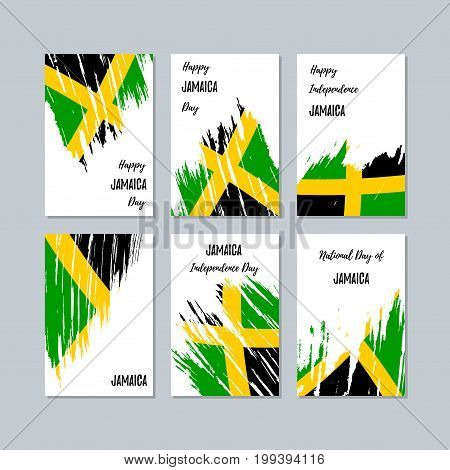 Jamaica Patriotic Cards For National Day. Expressive Brush Stroke In National Flag Colors On White C